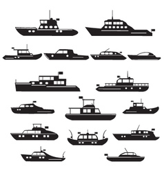 Set icons of motor yachts vector image
