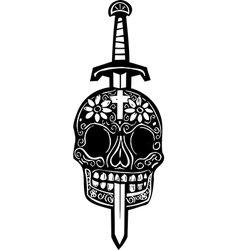 Sword and Day of Dead Skull vector image vector image