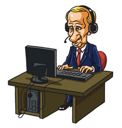 vladimir putin in front of his computer cartoon vector image