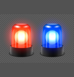 3d realistic red and blue turn on police vector image