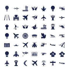 49 flight icons vector