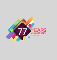 77 years anniversary colorful design with circle vector