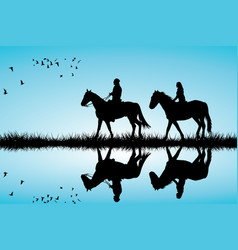 a couple on a horse ride vector image