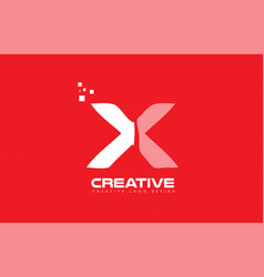 alphabet letter x red technology white logo vector image