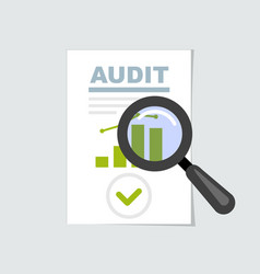 Audit and report icon - magnifier on verification vector