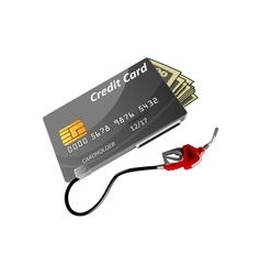 Bank credit card money and gas nozzle vector image