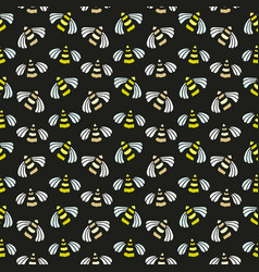 Bee seamless pattern bright background for honey vector