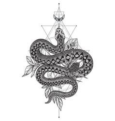 Black and white snake vector