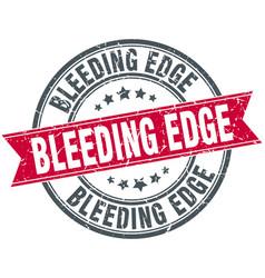 Bleeding edge round grunge ribbon stamp vector