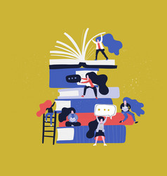 Books and female characters vector