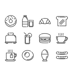 breakfast icons set thin line style vector image