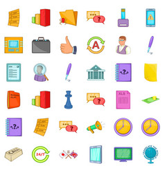Business strategy icons set cartoon style vector