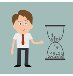 Businessman and big hourglass with dollar and euro vector