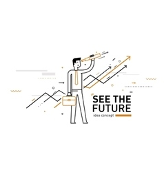 Businessman with telescope looking to the future vector
