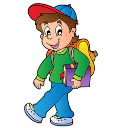 Cartoon boy walking to school vector