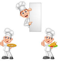 cartoon chefs collection set vector image