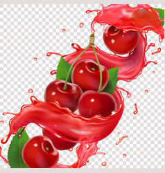 cherry juice splash for advertising realistic vector image