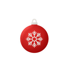 christmas ball icon red sphere in flat design vector image
