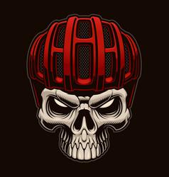 Colorful a skull in cyclist helmet on dark vector