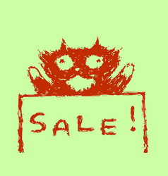 cute fur sale cat vector image