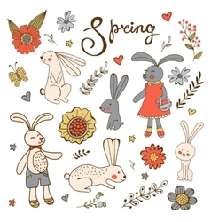 Cute hand drawn collection of bunnies rabbits and vector