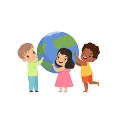 cute multicultural little kids standing around the vector image