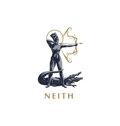 egyptian goddess neith archer crocodile vector image