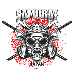 emblem template with samurai helmet and crossed vector image