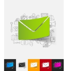 envelope paper sticker with hand drawn elements vector image