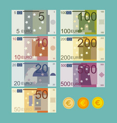 Euro currency banknote in flat vector