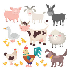 farm animals pig donkey cow sheep goose rooster vector image