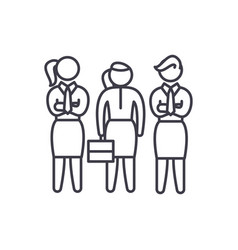 female employees line icon concept female vector image