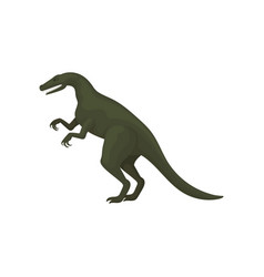 flat design of troodon or velociraptor vector image