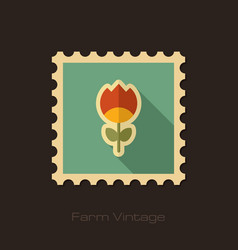 flower retro flat stamp with long shadow vector image