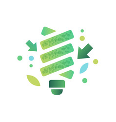 fluorescent light bulb green ecological lightbulb vector image
