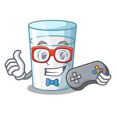 gamer fresh milk glass in cartoon table vector image