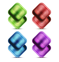 glass buttons and icons vector image