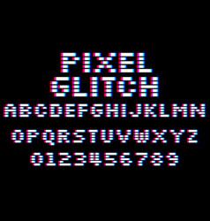 Glitch pixel font set 8 bit style latin vector