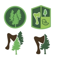 Green logo with wood an ax a forester vector image