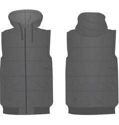 Grey puffer vest vector
