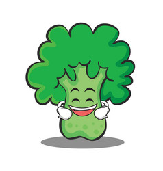 Grinning broccoli chracter cartoon style vector