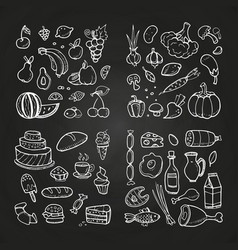 Hand drawn healhty and fast food doodle vector