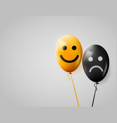 Happy and sad faces yellow and black balloons vector