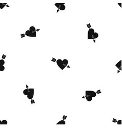 heart with arrow pattern seamless black vector image