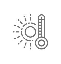 High temperature thermometer line icon vector