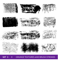 Ink brush strokes grunge paint splatters vector