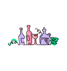 Line icon bottles of wine with grape leaves vector