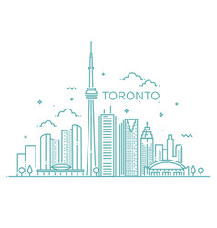 Linear banner of toronto line art vector