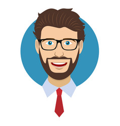 Man character face avatar in glasses vector