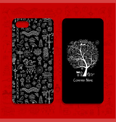 mobile phone cover design chinese style vector image